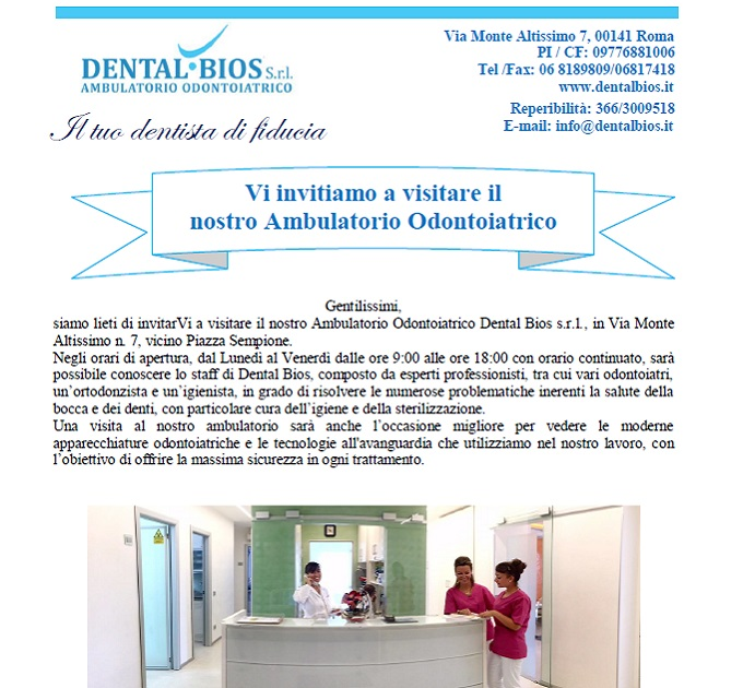 Brochure con Invito per una visita all'ambulatorio odontoioatrico Dental Bios